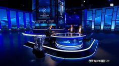 Explore photos of BT Sport's TV set design in this interactive gallery of the studio. Tv Set Design, Stage Design, Plateau Tv, Virtual Studio, Bt Sport, Tv Sets, Tv Decor, Scenic Design, New Set