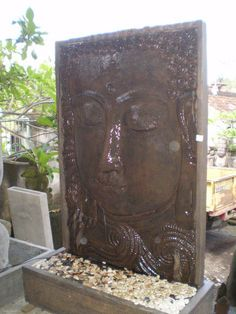 Water Feature Fountain Outdoor Statue Balinese Buddha Face Bronze CRC 2m