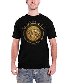 Winter Is Coming Stark Wolf Game Of Thrones gold shield Official Mens T Shirt @ niftywarehouse.com