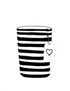 Illustration by ulrike wathling Art And Illustration, Watercolor Illustration, Black N White, Crayon, Tea Time, Tea Party, Tea Cups, Stripes, Drawings