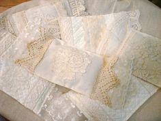 ~ The Feathered Nest ~  A pile of lavender sachet's before some ribbons & baubles were added.