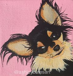long-haired chihuahua painting on a pink by AshleyBatesArt on Etsy