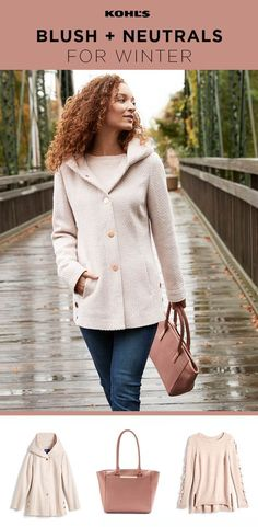If you think winter is only about dark colors and jewel tones, think again! Dare to wear light colors when the temperature drops by keeping them in the same color family but not completely matching. Shop the blush and neutral outfit at Kohl's.