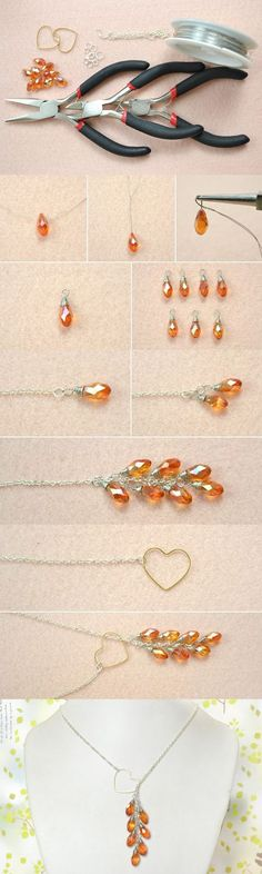 Easy DIY Tutorial on How to Make a Heart Lariat Style Necklace from LC.Pandahall.com #JewelryMaking