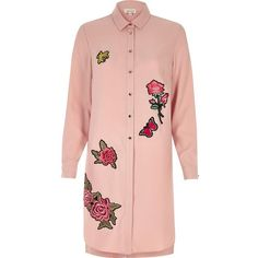 River Island Pink rose badge longline shirt dress ($80) ❤ liked on Polyvore featuring dresses, pink, shirt dresses, women, floral print dress, pink dress, long sleeve shirt dress, long-sleeve floral dresses and pink floral dress
