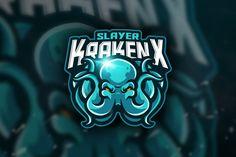 , Slayer KrakenX - Mascot &Esport Logo- Suitable for your personal or squad logo, All elements on this template are editable with adobe illustrator! Game Logo Design, Badge Design, Creative Logo, Sports Team Logos, Esports Logo, Retro Logos, Logo Sticker, Logo Templates, Design Templates