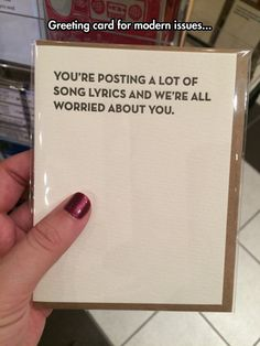 It's Like An Intervention Card