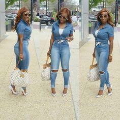 Denim Fashion, Look Fashion, Girl Fashion, Womens Fashion, Chic Outfits, Spring Outfits, Fashion Outfits, Denim Outfits, Looks Plus Size