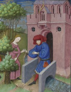 A woman is literally and figuratively 'persuaded' by her lover. Miniature attributed to the Master of Guillebert De Mets in Laurent Premierfait's French version of Boccaccio's Decameron, Bibliothèque de l'Arsenal, Ms. Medieval Life, Medieval Knight, Medieval Art, Renaissance Art, Giovanni Boccaccio, Courtly Love, Language And Literature, Lovers And Friends, Illuminated Manuscript
