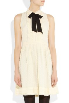 J.Crew Swiss-dot silk-blend dress