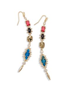 Shop brass shoulder duster earrings at Kendra Scott. With colorful jewel tones and metallic detail - the Leandra Earrings are the perfect trend accessory.