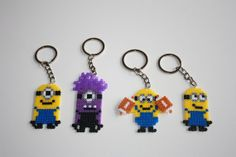 Despicable Me minions keychains perler beads  by DecorarteLeon