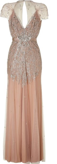 Jenny Packham nude beaded gown, quite possibly one of the most beautiful dresses I've ever seen. Just looking at it makes me happy. Vintage Dresses, Vintage Outfits, Vintage Fashion, Vintage Clothing, Vintage Style, Fashion 1920s, 1930s Style, 2000s Fashion, Edwardian Fashion