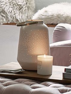 Create a little magic with this beautiful white porcelain hurricane lamp, featuring tiny dotted patterns that cast a star-like glow around your home. Indoor Candle Lanterns, Hurricane Lanterns, Metal Candle Holders, Condo Decorating, Brass Handles, Nordic Design, Beautiful Gifts, White Porcelain, Inspirational Gifts