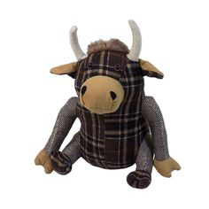 This doorstop has a highland cow design. It has various textures and patterns from a faux suede to faux fur and tartan. Approximate Size: 24cm x 16cm x 14cm. Material: Outer - 100% Polyester. Filling - Sane. | eBay!