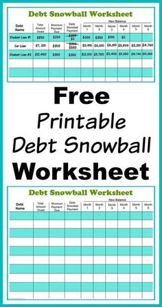 Free Printable Debt Snowball Worksheet- Perhaps the best way to pay down your debt is with the debt snowball method! Use my free printable debt snowball worksheet to get started! | paying down debt, debt free, debt repayment, budgeting, frugal living #FinanceWorksheets