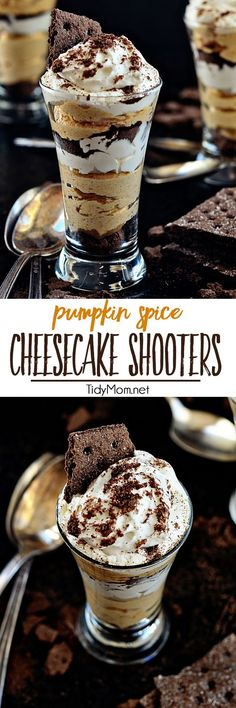 "A shot of no-bake Pumpkin Spice Cheesecake with a chocolate graham cracker crust and whipped topping for the perfect fall dessert. Get the recipe at <a href=""http://TidyMom.net"" rel=""nofollow"" target=""_blank"">TidyMom.net</a>"