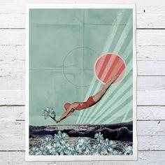 """""""Wasserfrühling"""", Collage Druck, Frühling, A4, #13 von Alles-Deins auf DaWanda.com"""