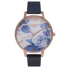Olivia Burton Painterly Prints Blue Rose Navy and Rose Gold OB15PP02