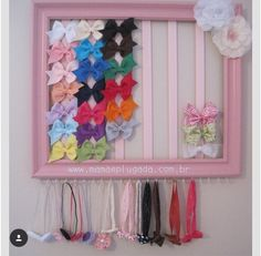Photo frame painted with ribbon and hooks. Easy to make for headband and hair cl… Photo frame painted with ribbon and hooks. Easy to make for headband and hair clip storage/display Hair Clip Storage, Ribbon Storage, Cool Beds For Teens, Butterfly Bedroom, Ideas Para Organizar, Little Girl Rooms, Girls Bows, Painting Frames, Hair Bows