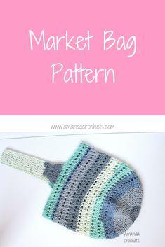Market Bag Pattern - Amanda Crochets : Crochet Farmer's Market Tote Bag using Caron Cotton Cake yarn. Crochet 101, Quick Crochet, Crochet Tote, Crochet Handbags, Crochet Purses, Crochet Crafts, Crochet Projects, Beginner Crochet, Crochet Afghans
