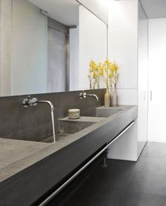 concrete / slate washroom space