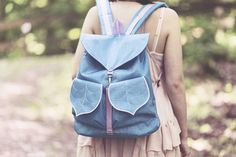 Women's Backpack Blue Leaf Backpack Waterproof Canvas