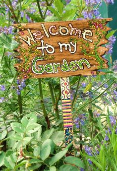 Hand Painted Wooden Garden Sign with Post by catmacdesigns