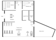 Gym floor plan sample designe pinterest gym spa and for Gym floor plan examples