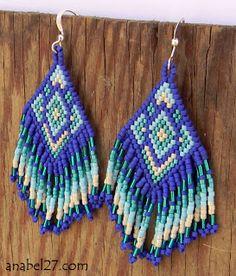 Сине-бирюзовые этнические серьги из бисера с бахромой