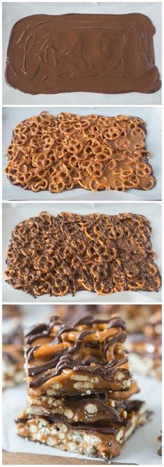 Four step by step images - spreading of chocolate, topping with pretzels and caramel sauce, drizzled chocolate, and the finished cooled final product.