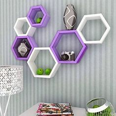 Onlineshoppee Fancy Set of 6 Hexagonal Shape MDF Wall Shelf Big Size ( 10.5 x 4x 10.5) inch Color- Purple and White ** Read more at the image link. (This is an affiliate link) #FloatingShelves