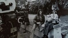 Jamie Lee Curtis on Halloween set with John Carpenter.