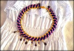 Blue and Purple Necklace, Bib Necklace, Statement Necklace, Braided Necklace, Gold Chain Necklace,Chunky Necklace, Boho Necklace