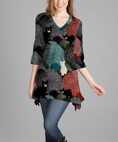 Loving this Teal & Rust Cat-Accent V-Neck Tunic - Plus Too on #zulily! #zulilyfinds