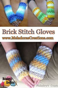 This is Your place to learn to crochet the Brick Stitch Finger less Gloves for FREE. By Meladora's Creations - Free Crochet Patterns and Video Tutorials Crochet Wrist Warmers, Crochet Mitts, Fingerless Gloves Crochet Pattern, Crochet Gratis, Crochet Geek, Crochet Slippers, Learn To Crochet, Crochet Scarves, Crochet Clothes