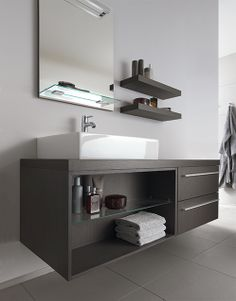 Wellness in your own bathroom with high quality bathroom furniture by Duravit. Bathroom Sink Vanity, Bathroom Renos, Bathroom Furniture, Bathroom Black, Design Bathroom, Floating Cabinets, Floating Vanity, Duravit, Bad Inspiration
