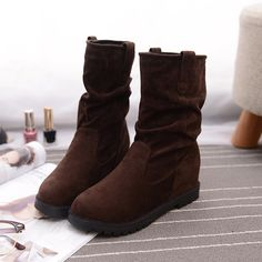 Women Mid-calf Boots Suede Slip On Casual Cotton Outdoor Flats