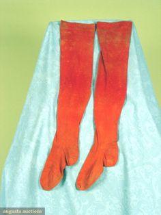 19th Century Man's Stockings  Stockings of turkey red cotton, knit on stocking frame.