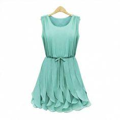 Sleeveless Chiffon Ruffle Dress Green Sapphire Blue