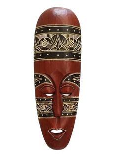 "Máscara Decorativa em Madeira ""Lombok"" 50cm - Tribal - http://www.artesintonia.com.br/mascara-decorativa-em-madeira-lombok-50cm-tribal"