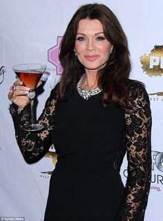Toasting her success: The entrepreneur celebrated with a glass of her new LVP pink sangria served up in one of the gorgeous bejewelled martini glasses from her collection How To Look Classy, Look At You, Pink Sangria, Lisa Vanderpump, Fitted Black Dress, 40 And Fabulous, Business Dresses, Real Housewives, Lace Sleeves
