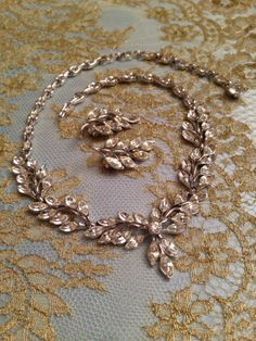 Vintage Glam  Vintage Necklace and Earrings  by FourLeafVintage, $130.00  Fabulous!!