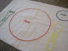 embroidered montessori/waldorf placemat