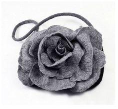 Designer Bag Felted Bag Nunofelt Handbag Rose Purse wild Felt Nuno felt Silk grey gray fog fairy floral fantasy shoulder bag Fiber Art boho on Etsy, $139.00