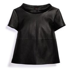 Hot trend! The boxy funnel-neck top in edgy faux leather.FEATURES:• Short sleeves•Seam line across center and across to make it look like four panels• Boxy funnel-neck collar that sticks upMATERIALS:• Coating: 100% Polyurethane.• Base: 94% Polyester, 6% Rayon.