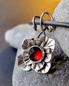 red Garnet faceted stone in a sterling silver flower setting nature | Metal_Artistry - Jewelry on ArtFire