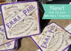save the date on coasters!!! AWESOME!