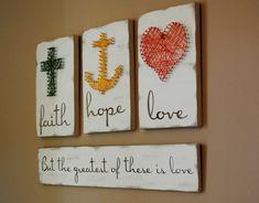 Faith Hope Love But the Greatest is Love String art, Custom Handpainted Wood Sign, 3D Nail Art, Rustic Wood Decor, Christian Decor