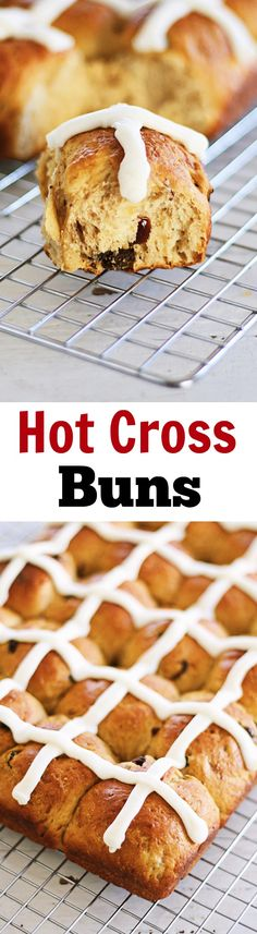 Hot Cross Buns - soft, fluff and pillowy hot cross buns spiced with cinnamon, cloves and loaded with dried fruits. So good you can't stop eating! Easy Desserts, Delicious Desserts, Dessert Recipes, Yummy Food, Dessert Ideas, Dinner Recipes, Easter Recipes, Holiday Recipes, Easter Ideas